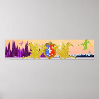 Mundo lindo de los dragones del dibujo animado del posters