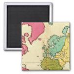 Mundo llano del mapa imanes de nevera