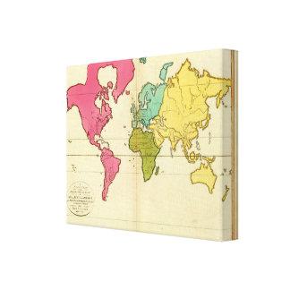 Mundo llano del mapa impresión en lienzo