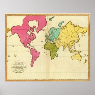 Mundo llano del mapa póster