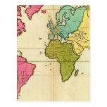 Mundo llano del mapa tarjetas postales