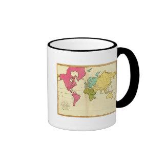 Mundo llano del mapa tazas de café