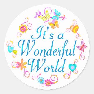 Mundo maravilloso pegatina redonda