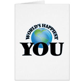 Mundo más feliz usted tarjeta de felicitación