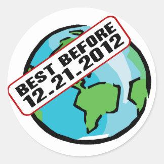 Mundo mejor antes de 12.21.2012 pegatina redonda