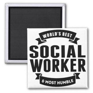 Mundo mejor y la mayoría del asistente social imán cuadrado