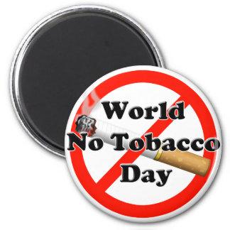 Mundo ningún día del tabaco imán redondo 5 cm