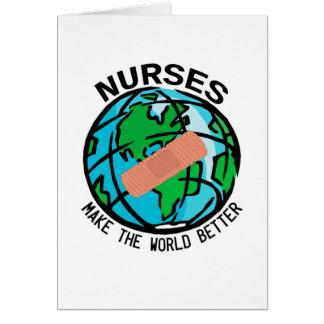 Mundo Notecard de las enfermeras Tarjeta Pequeña