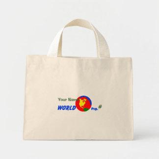 Mundo primario con la población, su bolso conocido bolsa