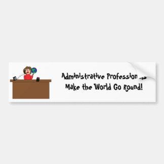 Mundo profesional administrativo Brunette Bumpe Pegatina De Parachoque