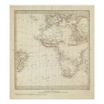 Mundo, proj gnomonic I África y Europa del sur Impresiones