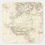 Mundo, proj gnomonic I África y Europa del sur Calcomania Cuadradas Personalizada