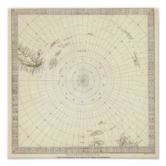 Mundo, proj gnomonic VI South Pole a lat de 45 S Poster