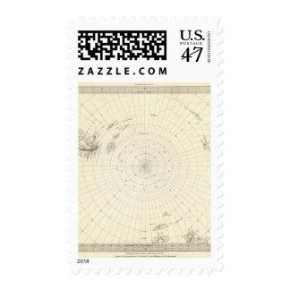 Mundo, proj gnomonic VI South Pole a lat de 45 S Timbres Postales
