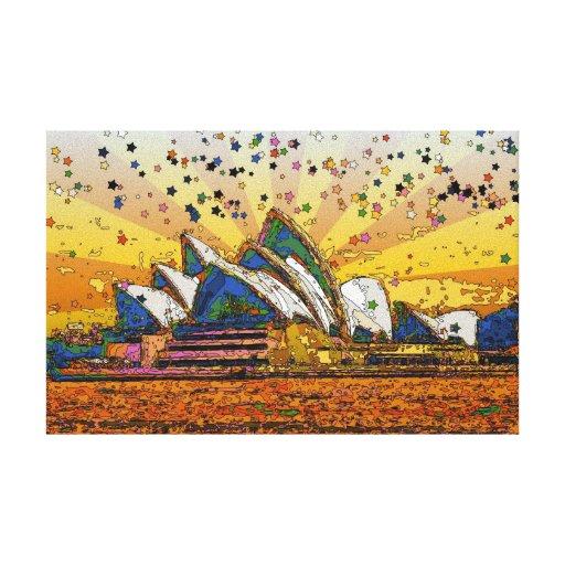 Mundo psicodélico: Horizonte A1 de Sydney Impresiones En Lona Estiradas