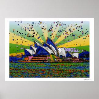 Mundo psicodélico: Horizonte A2 de Sydney Australi Posters