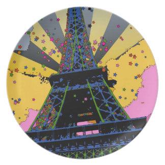 Mundo psicodélico: Torre Eiffel, París Francia A1 Plato De Cena