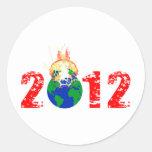 Mundo que estalla en 2012 etiqueta redonda