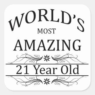 Mundo que sorprende 21 años pegatina cuadrada