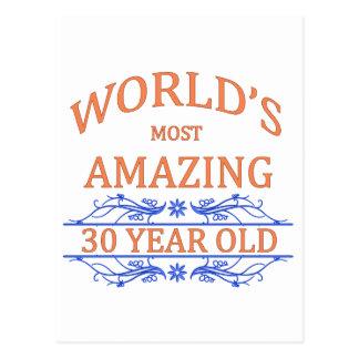 Mundo que sorprende 30 años tarjeta postal