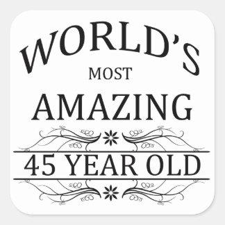 Mundo que sorprende 45 años pegatina cuadrada