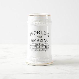 Mundo que sorprende 70 años jarra de cerveza
