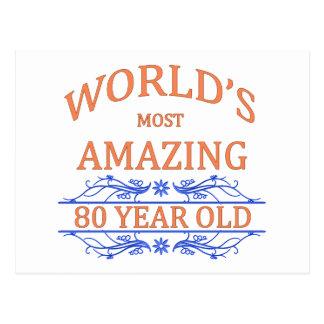 Mundo que sorprende 80 años tarjeta postal