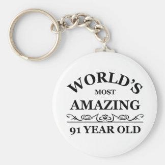 Mundo que sorprende 91 años llaveros personalizados