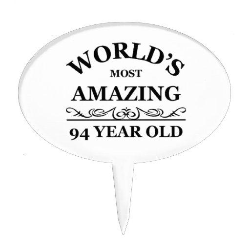 Mundo que sorprende 94 años decoración para tarta
