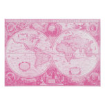 Mundo rosado antiguo poster