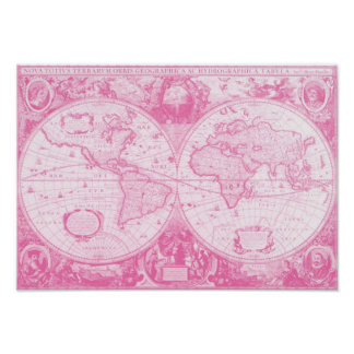 Mundo rosado antiguo póster