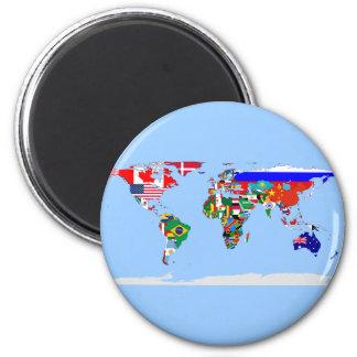mundo señalado por medio de una bandera imán