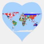 mundo señalado por medio de una bandera colcomanias corazon