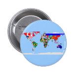 mundo señalado por medio de una bandera pin