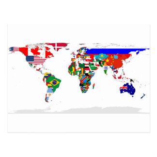 mundo señalado por medio de una bandera postales