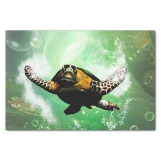Mundo subacuático con el seaturtle papel de seda pequeño