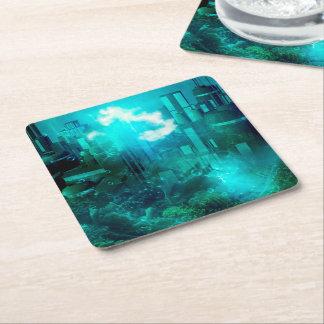 Mundo subacuático de la fantasía posavasos de cartón cuadrado