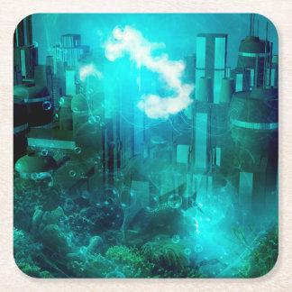 Mundo subacuático de la fantasía posavasos personalizable cuadrado