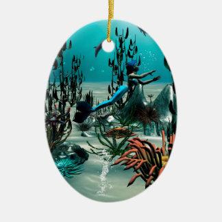 Mundo subacuático adorno ovalado de cerámica