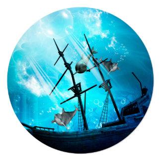 """Mundo subacuático invitación 5.25"""" x 5.25"""""""