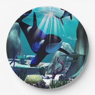 Mundo subacuático plato de papel 22,86 cm