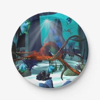 Mundo subacuático plato de papel 17,78 cm