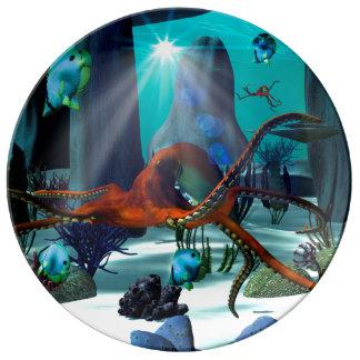 Mundo subacuático platos de cerámica