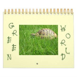 Mundo verde calendario de pared