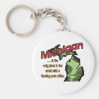 Mundos del ~ del lema de Michigan que flotan Llavero Redondo Tipo Pin