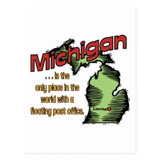 Mundos del ~ del lema de Michigan que flotan Tarjetas Postales