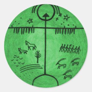 Mundos del Shamanism Pegatina Redonda