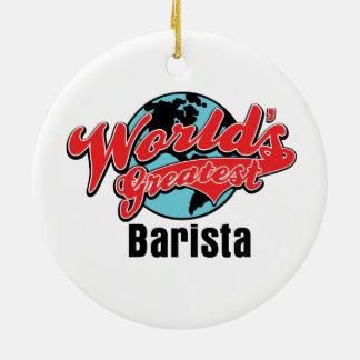 Mundos el Barista más grande Ornamento De Navidad