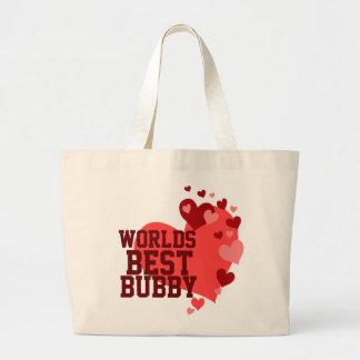 Mundos el mejor Bubby personalizado Bolsa Tela Grande