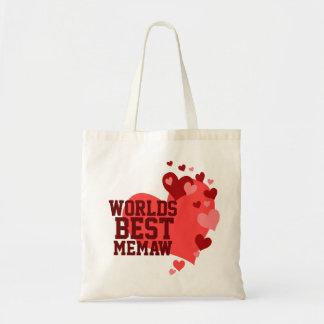 Mundos el mejor Memaw personalizado Bolsa Tela Barata